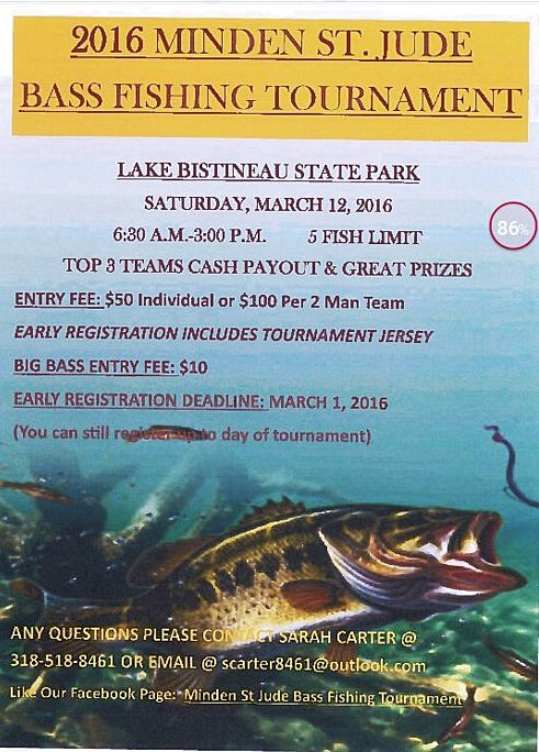 Minden St Jude Bass Tournament Slated For March 12